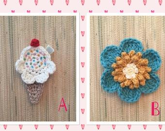 Crochet Ice Cream Cone/6 Petal Daisy Flower Organic Cotton