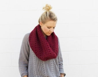 Crocheted Oversized Chunky Cowl Scarf - Maroon-  Made to Order