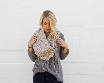 Crocheted Oversized Chunky Cowl Scarf - Oatmeal -  Made to Order