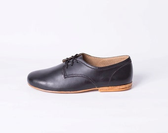 Mens Leather Shoes with Leather Soles (Black Color)