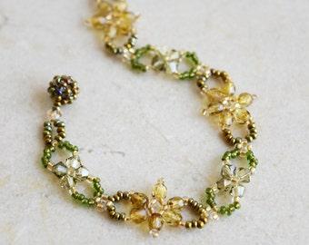 Flower Beaded Bracelet, Swarovski Crystal Woven Bracelet, Czech Golden Flower Bracelet, Crystal Woven Bracelet, Non Metal Parts / BC #012