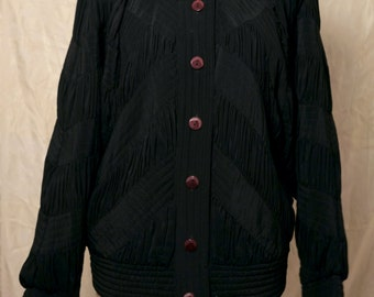 Vintage black silk pleated puffy jacket