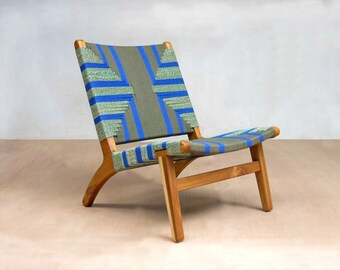 "Lounge Chair, Mid Century Chair, Teak Frame, Handwoven Seat, ""Emerald Coast"",  Blue and Green,  Masaya and Company, Mid Century Modern"