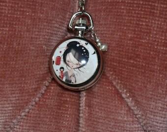 """Kokeshi"" Silver Pocket Watch"