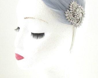 Grey Silver Rhinestone Feather Fascinator Headband Headpiece 1920s Vintage 8AC