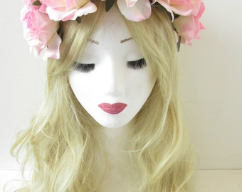 Large Light Pink Rose Flower Hair Crown Headband Garland Vintage Hair Band Festival Big P84