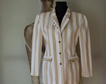 Vintage Cotton Blazer Striped Women's Jacket  Made in Finland S/M Size