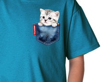 Pet (white cat) in a jean pocket t-shirts, cute cat t-shirts, Kids tee, unique cat t-shirts,white and gray cat,fun kids tee