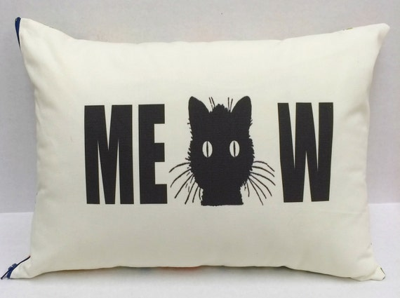 Cat Pillow, Meow Pillow, Black Cat, Cat Lover,Throw Pillow,Decorative Pillows,Accent Pillows,Throw Pillows,Gift for Cat Lovers, Cottage Chic