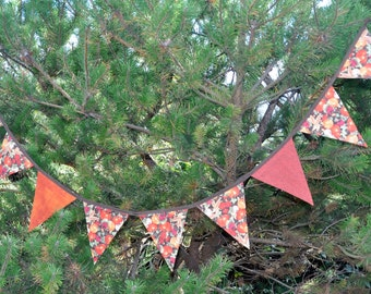 Double sided Topstitched Autumn Bunting, Autumn Garland, Thanksgiving Festive Banner.