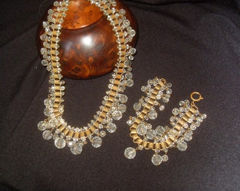 19th Century Necklace and Bracelet Set Copper and Crystal
