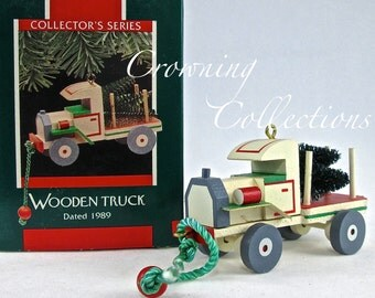 1989 Hallmark Wooden Truck Keepsake Ornament  Nostalgic Childhood Toy Series 6th Christmas Vintage Wood
