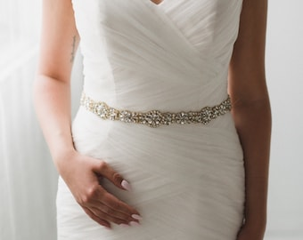 Gold Bridal Belt | Gold Wedding Belt | Skinny Gold Wedding Belt Sash | Crystal Bridal Sash | Gemma Belt