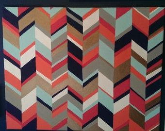 Multicolor Herringbone Painted Canvas 16x20