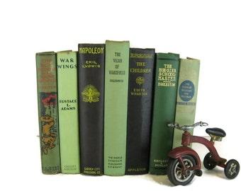 Green Decorative Books , Vintage Photo Props ,  Wedding Decor , Home Decor , Old Book ,  Green  Decor