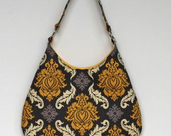 Fabric Shoulder Bag, Yellow and Gray Purse, Fabric Purse, Gray and Yellow Handbag, Medium Shoulder Bag