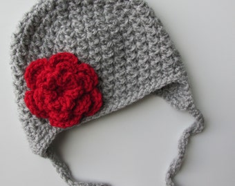 Ohio State Hat Baby Girl Toddler Kids Grey and Red Beanie