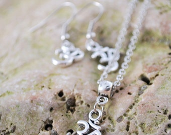Hippie Yoga jewelry set, Silver tone Om ohm earrings and necklace, Jewelry for men, meditation hippie earrings necklace