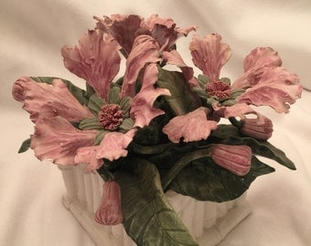 Vintage Ceramic Pink Poppies in Square Bamboo-Style Vase