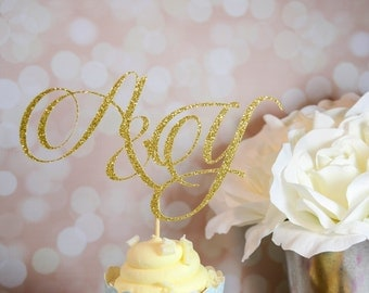 Initials Cake Topper - Wedding Cake Topper and Decor - Bridal Shower Cake Topper and Decor - Engagement Party Cake Topper and Decor
