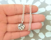 Around the globe necklace - Silver plated necklace with tiny world charm