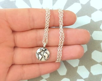Around the globe necklace - Silver plated necklace with tiny world charm (can be personalised with initial at the back)