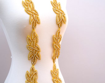 Gold Iron on Rhinestone Applique. Rhinestone Trim with Hallowed Print Design. Contemporary Chic.
