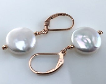 Rose Gold Earrings, Freshwater Pearl Earrings, Coin Pearl Earrings, Gift Ideas for Women, Real Pearl Earrings