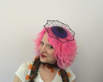 Spider Web Fascinator, Purple Spider Hat, Spider Hair Clip, Halloween Fascinator, Whimsy, Kitschy, Halloween, Costume, Headband