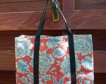 Red & Blue Floral Burlap Market Tote
