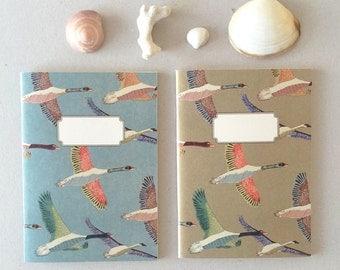 pack of 2 notebooks journal - A5 -original cute pattern- birds