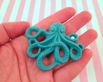 2 Teal Octopus Cabochons 64x52mm Nautical Cabochons