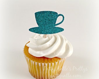 Glitter Teacup Cupcake Toppers, Glitter Coffee Cup Cupcake Toppers, Tea Cup Cupcake Toppers, Coffee Cup Cupcake Toppers, 12 Ct.