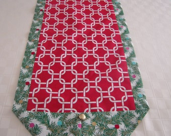 Red and White Links Table Runner