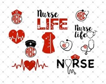 Nurse SVG Cut Files, Nurse Life SVG, Nurse Monogram files for Silhouette, cut files for Cricut, svg files, Monogram frames svg, svg files