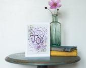 Greeting Card, Scripture Art, Hymn Art, Encouragement Card, Joy, Wedding Card, Christian Gifts, Illustrated Faith