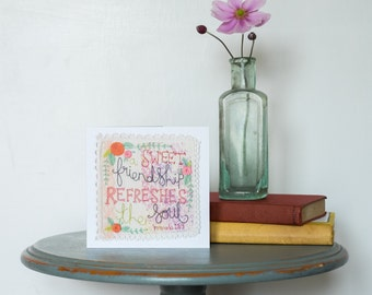 Greeting Card, Digital Print of Original Embroidery, Scripture Art, Bible Verse, Inspirational Quote, Encouragement Card