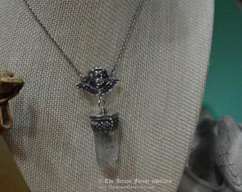 Tibetan Quartz and Sterling Silver Cherub Necklace