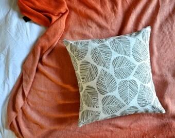 Grey Leaf Print Envelope Cushion Cover