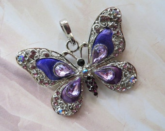 CRYSTAL SILVER BUTTERFLY Large Charm Purple Vintage Metal Focal Pendant Rhinestone Craft Jewellery Moth Necklace Pendant Bead Beadcraftshop
