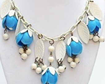 Vintage 1930's Celluloid Necklace Dripping with Blue Bell Flowers and Leaves