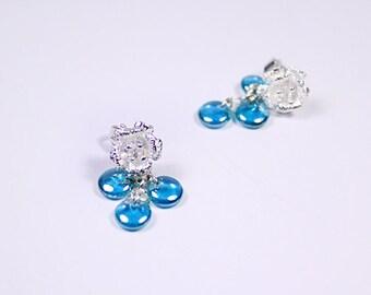 aqua studs blue jewelry aquamarine studs nature studs silver jewelry girls gifts casual earrings simple jewelry snow studs sister gift пя57