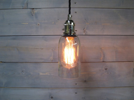 Wine bottle pendant light large clear upcycled industrial - Wine bottle pendant light ...