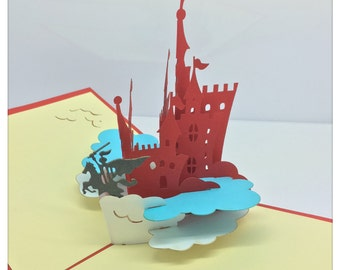 3D Pop Up Knight Castle Card