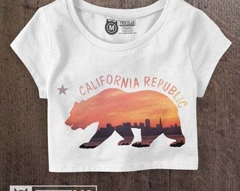 California Flag Shirt  - California Crop Top - California Art - California Shirt - California Print - Made in USA