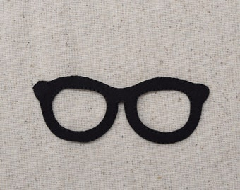 Black - Eyeglasses - Spectacles - Iron on Applique - Embroidered Patch - 696720A