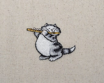 Gray Cat - Playing a Flute - Pets - Iron on Applique - Embroidered Patch - 155249-A