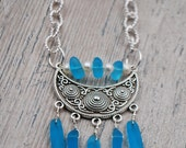 50% OFF SALE: Pacific Blue Recycled Glass Necklace with Freshwater Pearl Accents