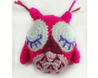 Small Sleepy Owl Toy, Handmade Owl Amigurumi, Crocheted Owl Doll, Sleepy Owl Stuffed Animal, Hot Pink Sleepy Owl, Owl Soft Toy, Handmade Toy