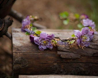 Floral Half Wreath flower head wreath headband fairy wreath hair crown wedding wreath bridal hair accessories flowers woodland whimsical
